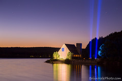 9/11 Sunset (Brian M Hale) Tags: oldstonechurch old stone church w west boylston westboylston ma mass massachusetts sunset memorial 911 nine eleven nineeleven september eleventh 2016 spotlights spotlight spotlite spot light twin towers twintowers tribute flag american america usa united states water wachusett reservoir lake pond reflections pool long exposure le longexposure canon 6d hdr high dynamic range photoshop lightroom brian hale brianhale brianhalephoto sky stars beautiful pretty somber sombre night time dark golden blue hour outdoors outside summer