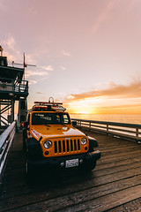 On watch (vvnnie) Tags: vertical landscape car auto vehicle jeep pier lifeguard sunset ocean beach travel san clemente california yellow orange