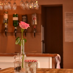 I'll Wait 5 More Minutes (mitchell_dawn) Tags: rose table restaurant flower waiting empty missed noonecame bar pink single solitary alone