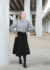 Under the bridge #1 (anastasia_smirnova) Tags: fashion girl model beauty beautiful outdoor female hair blonde eyes white pretty young adult autumn day bridge symmetry skirt posing shirt caucasian strict lines look hands pose style black shoes