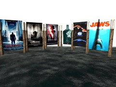 Movie Posters on Wooden Stilts (VenueSL) Tags: movies venue stilts poster stands posters movieposters inception perfume jaws et batman theconjuring decoration