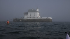 Fog lifting (Pivi ) Tags: kayak paddling fjord oslo norway fog sun sea lighthouse dyna