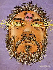 The Grey (The Searcher) Tags: derek chatwood poprelics art illustration sketch drawing self portrait panda rainbow vomiting grey hair age time