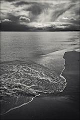Druridge Bay 14 (Jeff Teasdale) Tags: uk england blackandwhite water monochrome clouds coast northumberland