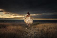 Lauren running on the beach (Floating Lantern) Tags: wedding sunset bird beach girl canon photography sand photographer dress singing south australia running adelaide palais semaphore 5dmarkiii