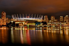 Vancouver Nights (Grant Mattice Photography) Tags: city canada water reflections lights flickr stadiums britishcolumbia skylines falsecreek yvr vancouverbc nightscapes 604 bcplacestadium grantmatticephotography