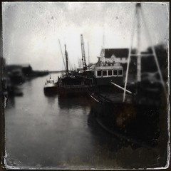 On the tide (.david...) Tags: river tintype essex maldon barges uploaded:by=flickrmobile flickriosapp:filter=nofilter