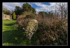 Zebra Sheep in the garden, Newark Park (NT) (Travels with a dog and a Camera :)) Tags: park uk england art statue digital photoshop fence garden dc sheep pentax unitedkingdom nt sigma cotswolds gloucestershire national trust newark 1020mm nationaltrust febuary 43 k5 lightroom cs6 2013 1456 wottonunderedge ozleworth newarkpark justpentax sigma1020mm1456dc pentaxart pentaxk5 photoshopcs6 lightroom43