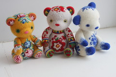 felted bears in the Russian style (Lelilio) Tags: bear wool felted toys teddy needle lelilio