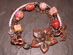 Ceramic Cherry Blossom Bracelet (Grubbi Ceramics) Tags: ceramic cherry beads blossom handmade bracelet copper feb abs stoneware febabs