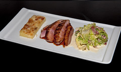 Pan Fried Duck Breast in Caramelised Pear Reduction with Creamed Cabbage and Potato Dauphinoise (Matt_Daniels) Tags: