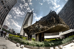 Gobernacin de Antioquia (Nick St. Marten Photography) Tags: sculpture sun color colour building sol architecture contrast buildings concrete arquitectura day open space sunny dia escultura tele abierto sede espacio antioquia alpujarra soleado gobernacin administrativa departamental teleantioquia