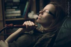Relaxing with waterpipe (Neferkheperure) Tags: portrait woman girl smoke relaxing indoor books waterpipe sheesha