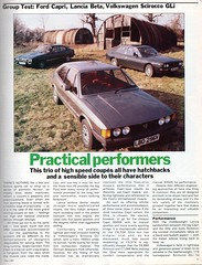Ford Capri 3000 S - Lancia Beta HPE 2000 & Volkswagen Scirocco GLi Group Road Test 1980 (1) (Trigger's Retro Road Tests!) Tags: road test ford vw volkswagen capri 2000 group s beta gli 1980 3000 lancia scirocco mk3 hpe