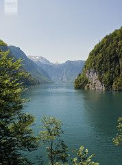 Knigssee [Explored] (desomnis) Tags: trees summer lake mountains alps forest canon germany landscape deutschland bavaria eos 350d paradise canoneos350d eos350d knigssee noclouds berchtesgadenerland