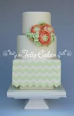 Mint Chevrons Wedding Cake (www.jellycake.co.uk) Tags: wedding green cake mint ranunculus sugar hydrangea wiltshire chevron squires jellycake weddingcakeshowroom