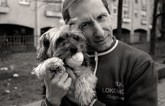 my neighbor with his crazy yorkie ( orimage ) Tags: leicam6 sel