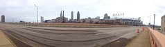 Cleveland, Ohio Panorama (Erik Daniel Drost) Tags: bridge ohio sculpture irish building tower field st skyline skyscraper key day traffic cleveland statues terminal arena indians patricks tribe stpatricks towercity stpatricksday progressive theq guardians cavaliers cavs loans terminaltower quicken loraincarnegiebridge towercitycenter hopememorialbridge guardiansoftraffic