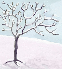 Snow and Tree (Digital Impasto) Day 2 (randubnick) Tags: winter snow tree art painting digitalart digitalpainting painter npme painter12 npmemulation digitalimpasto digitaloilimpasto