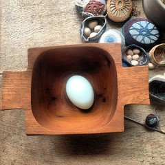 blue duck egg (knitalatte11) Tags: kitchen easter spring indigo homelife quailegg duckegg naturalblue pineneedlebasket naturallydyedblue woodenbowlfromthriftstore