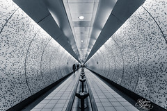 Tunnel Vision (Paki Nuttah) Tags: life park uk travel england people bw white black green london train underground walking point mono blackwhite europe tube rail tunnel greenpark gb vanishing staion