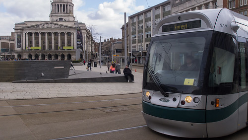Nottingham tram 214 in Old Market Square