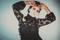 Maria Jose Jeria Llabres - The Dark Beauty Style Session (Tracey Rabjohns) Tags: nc asheville lacedress darkbeauty featheredcollar mariajosejeriallabres
