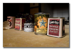 Meagre rations (Descended from Ding the Devil) Tags: dof firstworldwar fraybentos nationaltrust powyscastle sonya7mkii sonyalphadslr ww1 wales welshpool beyondbokeh bokeh cans cornedbeef depthoffield fullframe kitchen mirrorless photoborder rations selectivefocus table tins