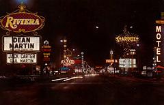 Las Vegas Strip circa 1970 (hmdavid) Tags: vintage postcard lasvegas strip 1970 1960s riviera frontier stardust elmorocco laconcha motel hotel casino westwardho texaco gasstation phillips66 deanmartin fashionsquare shopping center yesco adart