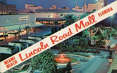 The Lincoln Road Mall, Miami, Florida (SwellMap) Tags: postcard vintage retro pc chrome 50s 60s sixties fifties roadside midcentury populuxe atomicage nostalgia americana advertising coldwar suburbia consumer babyboomer kitsch spaceage design style googie architecture shop shopping mall plaza