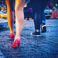 All Weather Shoes (nusevoicephotog) Tags: color colour spmcolor streetphotography nyip colorphotography helloicp everybodystreet ladies legs shoes red rain street nyc nusevoice