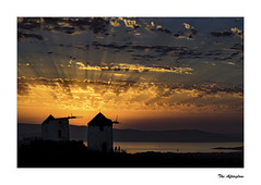 0E1A0680b Ther Afterglow (foxxyg2) Tags: sun sunset gold blue bluehour sky cloud windmills vivlos greece naxos aegean greekislands islandhopping islandlife water
