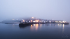 Whitby Harbour Lights in the blue hour (aveyardphotography) Tags: harbour lights warm home safe fog foggy glowing pier houses whitby ladder steps mist sand sea seascape boats tide water evening coast coastal yorkshire north fishing port old