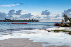 the red boat (Davyahoua) Tags: afrique afro ivory coast assini barque rouge alone seul mer ocean lagune paysage exotique roots beach raw brute color calme chill savage bleu canon canon70d canon2470mm
