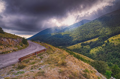 Road Into The Clouds (Alfred Grupstra Photography (bussy until 30 octobe) Tags: clouds mountains road sun ohrid macedonivjrm mk