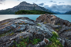 Along the shore of Upper Waterton Lake (Brian Krouskie) Tags: waterton national park mountain vimy peak lake rock cloud landscape outdoor nikond800 nikon1735 longexposure
