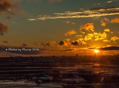 After the rain (Julie H. Ferguson (Photos by Pharos)) Tags: canada ontario torontointernationalairport sunset planes clouds skyline tarmac terminal3