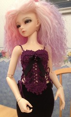 Grape corset (wovenflame) Tags: crochet corset ribbon beaded camisole bustier minifee smallbust frommyiphone