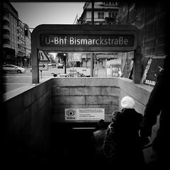 Bismarckstraße (svavaroe) Tags: city people blackandwhite bw black berlin architecture train germany underground square blackwhite ios bnw iphone 2013 deatschland bismarckstrase iphonegraphy hipstamatic iphone4s deatschlandgermany