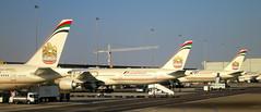 Abu Dhabi Int'l Airport, UAE (LAXFlyer) Tags: airport united uae emirates international abudhabi arab boeing airways abu dhabi 777 unitedarabemirates tails boeing777 etihad