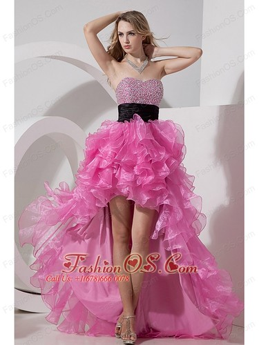 Rose Pink A-line Princess Prom Dress Sweetheart High-low Organza Beading Fashionos.com