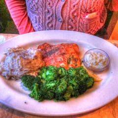 Grilled Salmon with Broccoli, Mashed Potatoes,Tartar Sauce and Lemon Wedge (Walker Dukes) Tags: sanfrancisco california pink red food white green vegetables dinner fun gold restaurant yummy purple sauce comida rich plate delicious photograph carbohydrates sfbayarea eats filling eatery aroma fattening photomatix