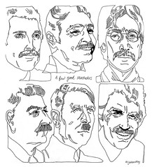 A Few Good Mustaches (msjordankay) Tags: blackandwhite celebrity illustration hair drawing hitler politician actor celebrities mustache johnlennon clarkgable linedrawing stalin tomselleck coloringbook mustaches freddiemercury hitlermustache pencilmustache jordankay caterpillarmustache msjordankay actormustache 1970smustache mustachecoloringbook 1970spornstache