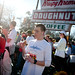 Runners begin to contemplate their doughnuts as they near the end of the box.