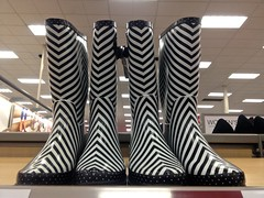 Target Striped Rain Boots IMG_2056 (Lynn Friedman) Tags: sf sanfrancisco ca blackandwhite usa painterly blur streets rain fashion shoes stripes footwear target theme impressionistic rainboots streetsandpeople lynnfriedman