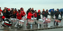 Drummer band (Country-trekker Images) Tags: red music rain weather liverpool drums samba band event entertainment southport batala 10krun