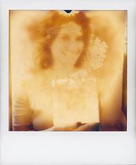 Ruination & Sanctification (ale2000) Tags: portrait people square polaroid sx70 photo foto shot gente exhibition frame instant ritratto humidity santino impossible cornice patrizia gatta ruination holypicture sanctification istantanea firstflush santificazione everydaypolaroid silvershade missgatta px600 poorpod