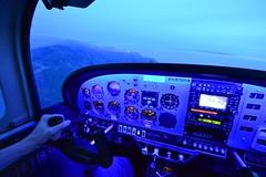 Flying into my home airport at dusk (beltz6) Tags: afsdxnikkor1024mmf3545ged aviation cockpit flying evening santabarbara santabarbaraairport night dusk grumman grummantiger aa5b grummanaa5b garmin