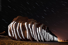 East Beach (AndWhyNot) Tags: light beach night painting cafe long exposure east startrails littlehampton 1125