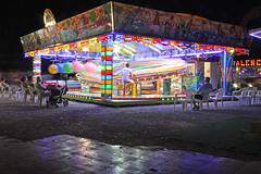 Valencia, Canet d'en Berenguer - roundabout at night 3 (Romeodesign) Tags: longexposure light game valencia colors night speed reflections amusement spain chairs roundabout merrygoround controller funfair themepark neons whirligig rummel viewers 550d ringelspiel canetdenberenguer